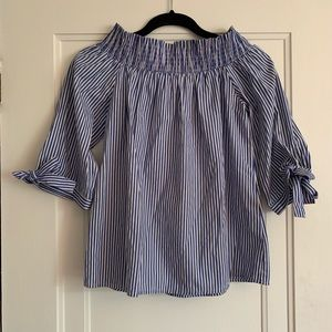 Tops - Striped Off-Shoulder Tunic